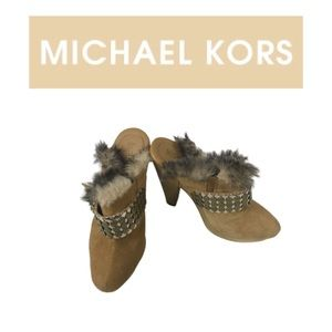 Michael Kors Studded and faux fur Clogs. Sz 6M
